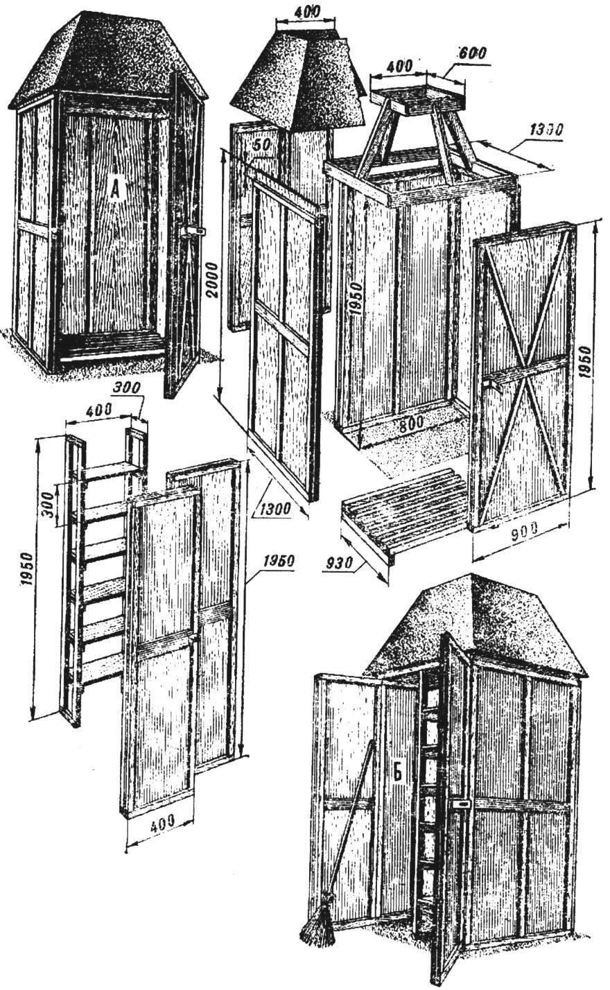 В одной будке два отделения: душевая кабинка (А) и мини-склад с полками и отсеком для инструментов (Б).