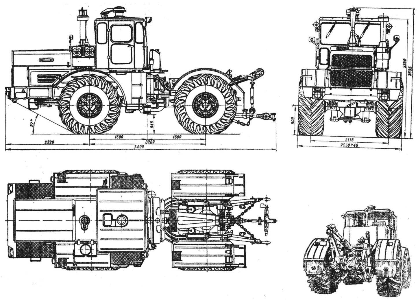 Fig. 1. Agricultural wheeled tractor General purpose K-701.