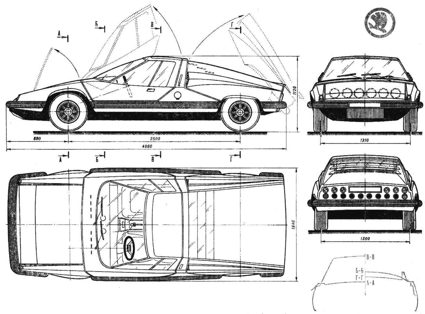 Рис. 1. Двухместный спортивный автомобиль «Шкода-супер спорт».