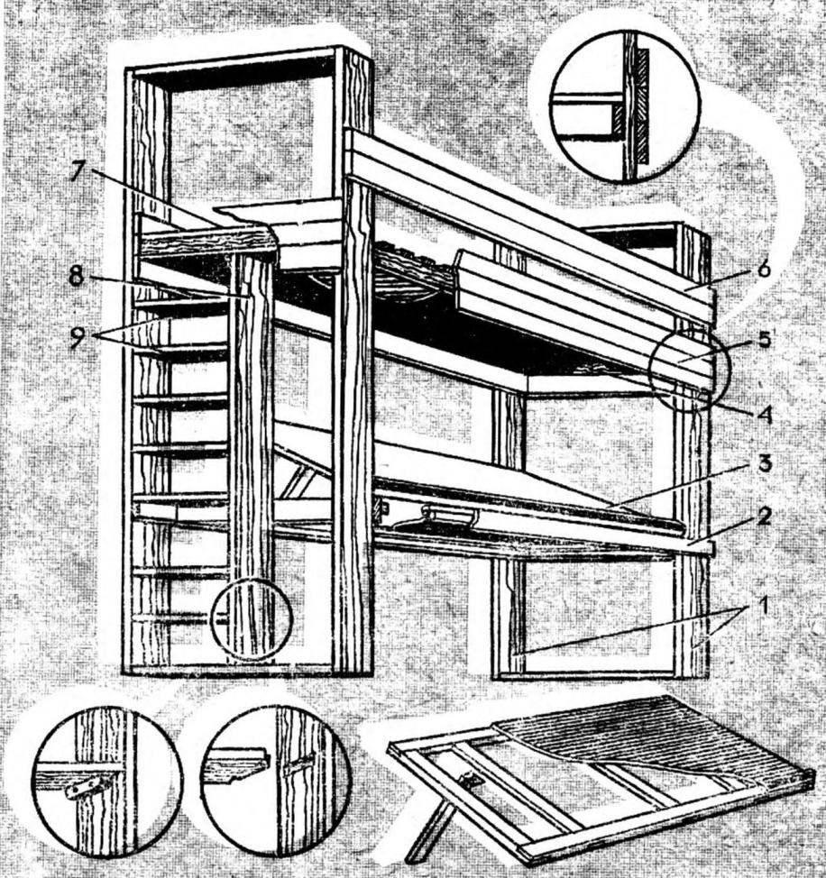 Рис. 1. Двухэтажный детский уголок и его схема
