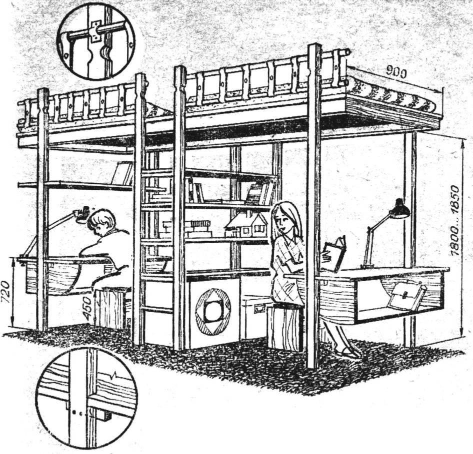 Рис. 3. Двухэтажная детская для двух подростков.