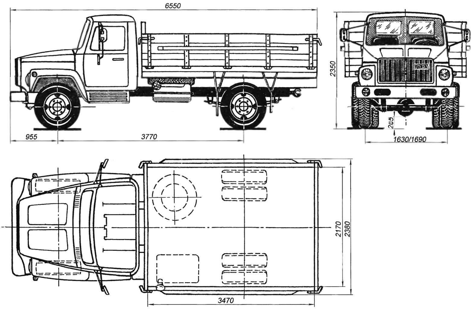Основные размеры грузового автомобиля ГАЗ-3307