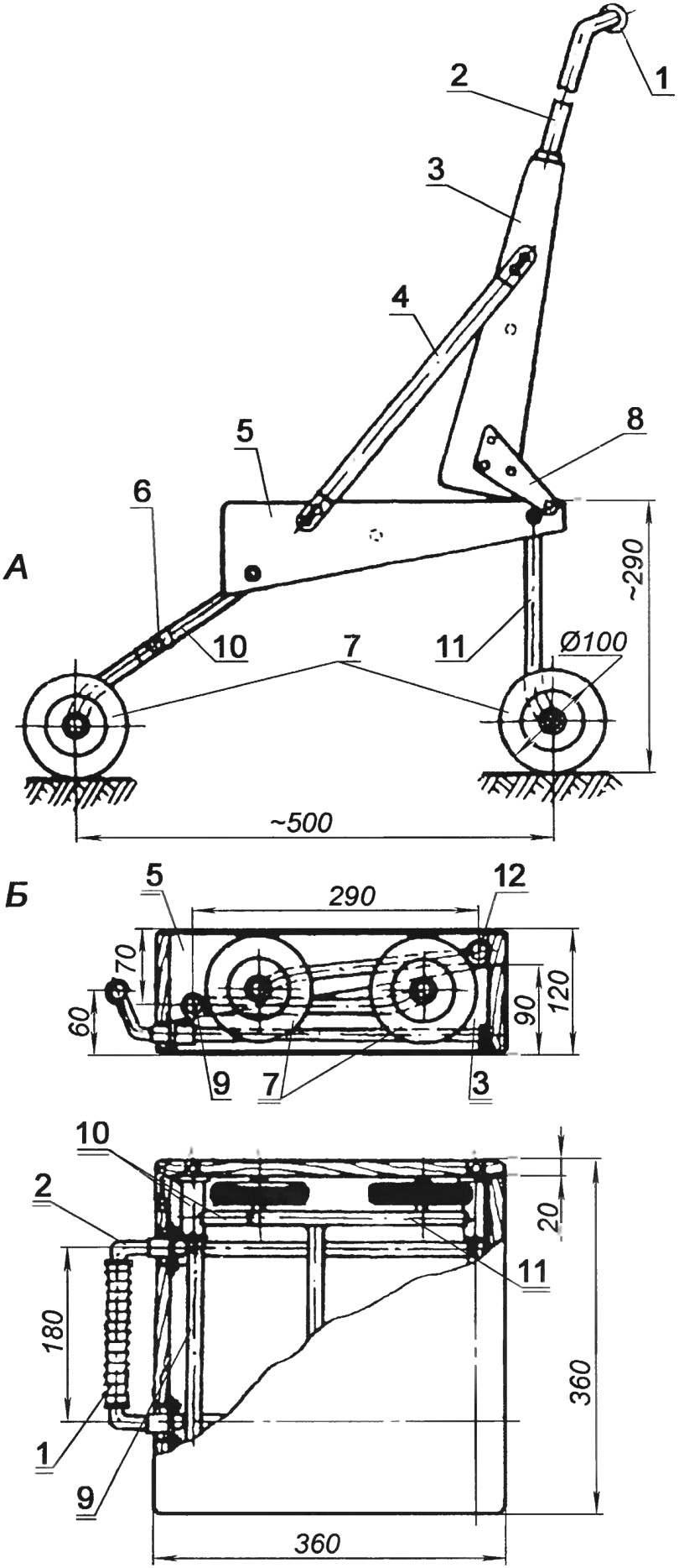 Конструкция складной коляски