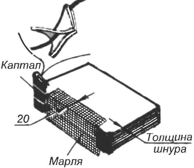 Рис. 9. Укрепление корешка наклейкой марли; вставка капталов
