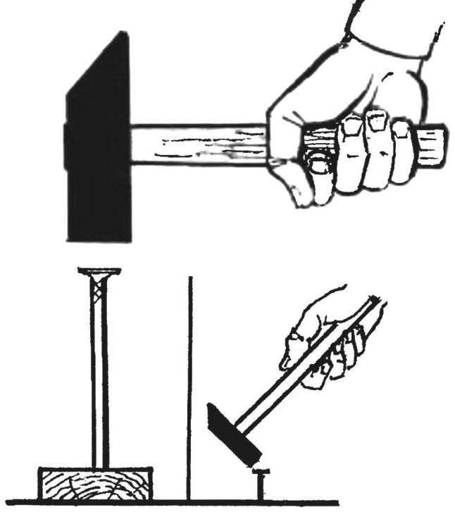1. Длинные гвозди лучше забивать 400 — 500-граммовым молотком, а мелкие — молотком массой до 250 г.