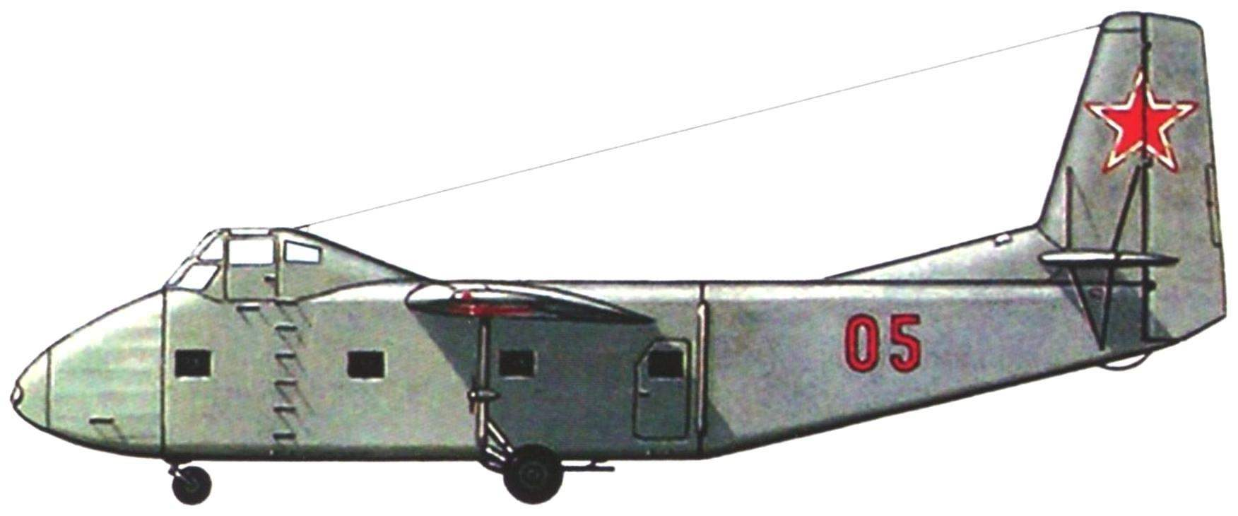 Serial glider, shown in aviation Day in Tushino in 1949 Glider had the final position of the front window of the cargo compartment. The Yak-14 was painted light gray on all surfaces, and had the tail number 05 red.