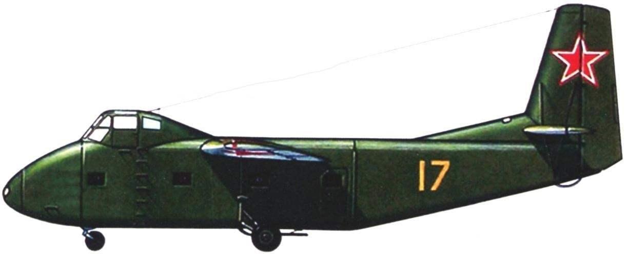 Схема раскраски Як-14 с жёлтым бортовым номером 17. У этой машины отсутствовала звезда на фюзеляже. Верхние и боковые поверхности имеют тёмно-зелёную окраску, а нижние - светло-серую.