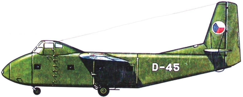 Последний чехословацкий NК-14, показанный на днях авиации в г. Рузинье в 1956 г. Планёр имел стандартную советскую раскраску и бортовое обозначение D-45. Государственные эмблемы - в белой окантовке