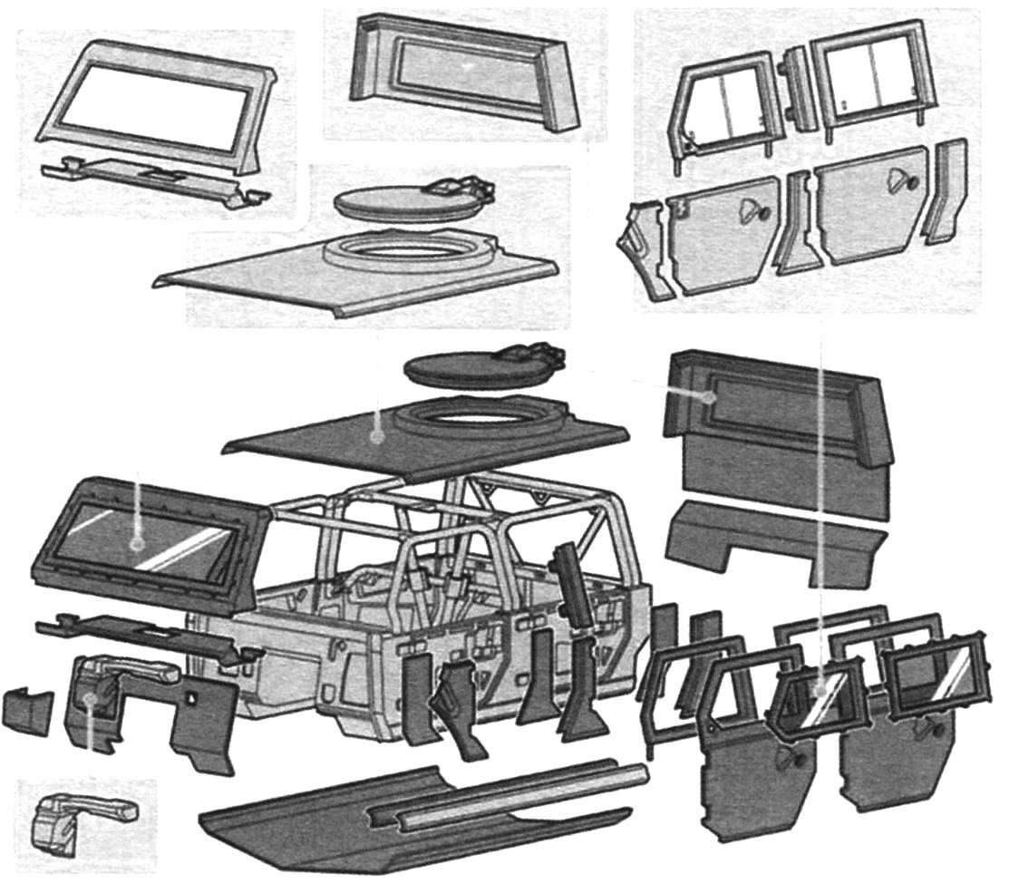 Комплектующие детали корпуса, образующие «бронекапсулу»