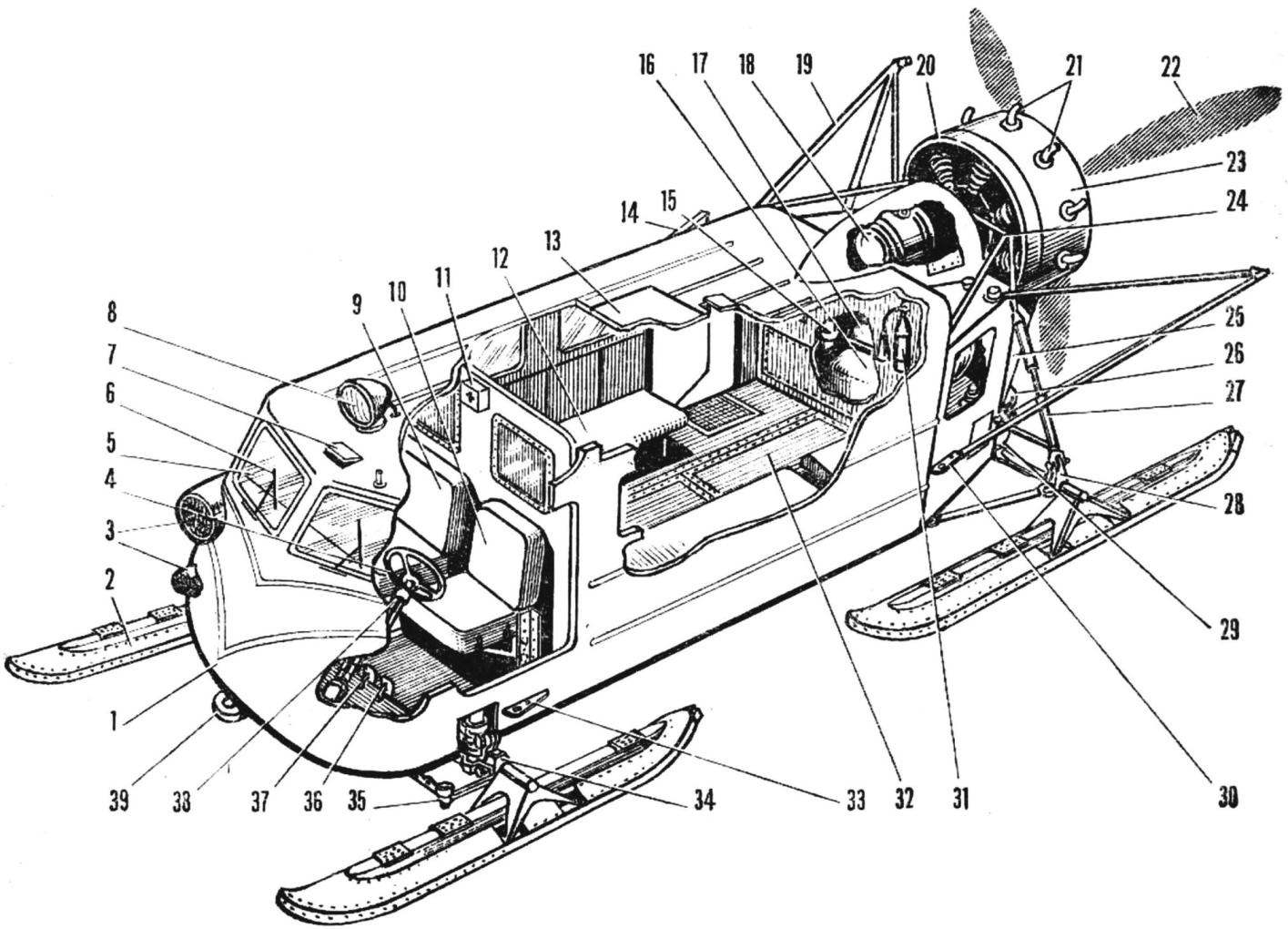 The layout of the snowmobile Ka-30