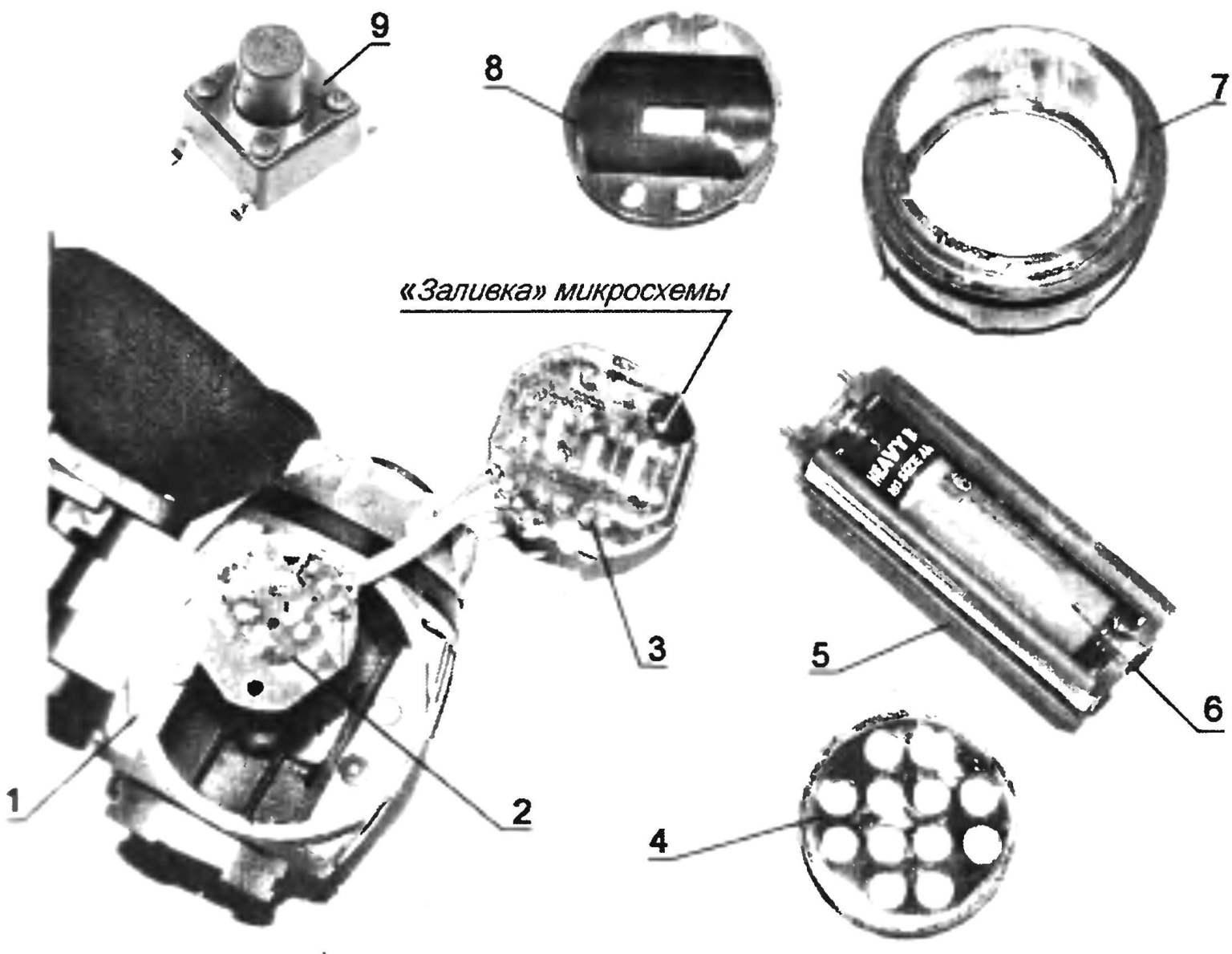 Налобный фонарь, разобранный на части