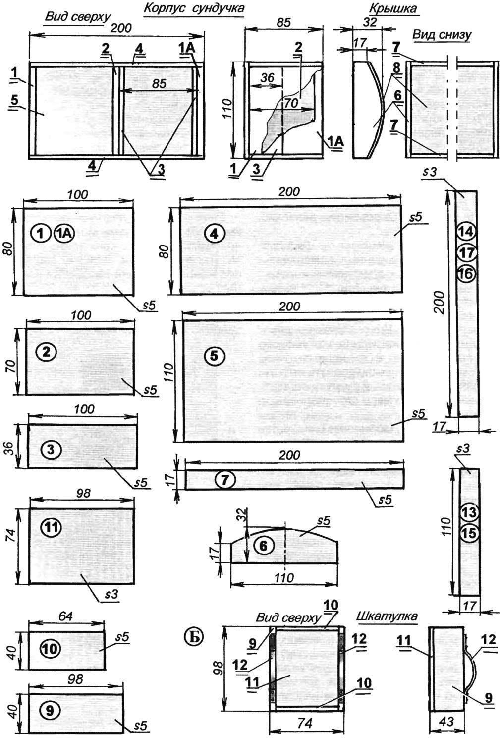 Рис. 1. Декоративный «сейф»-сундучок (А) и вкладная шкатулка (Б)