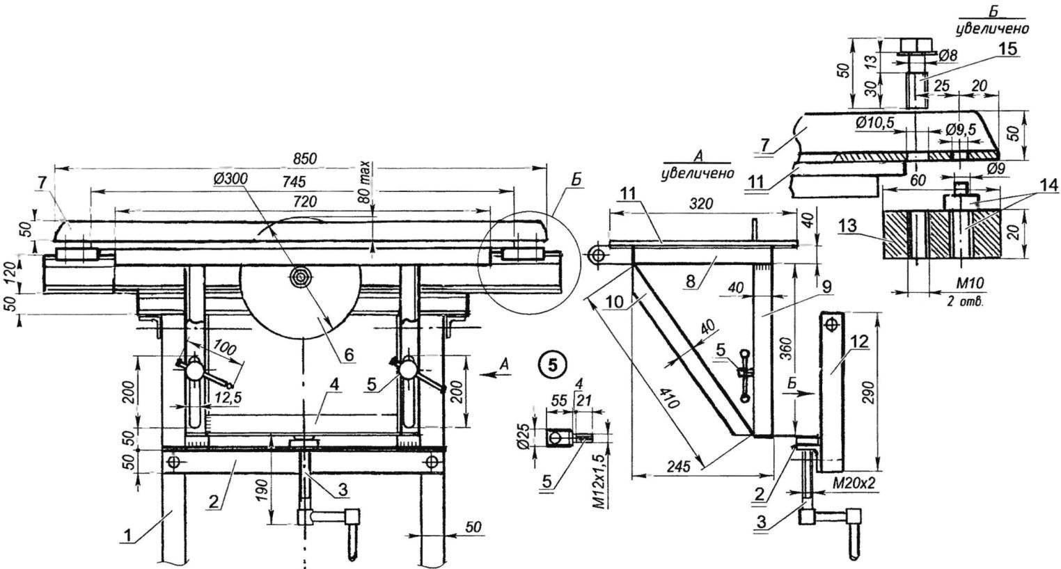Механизм подъёма стола «циркулярки» и крепление к столу направляющей планки
