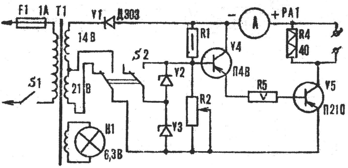 Принципиальная схема зарядного устройства.