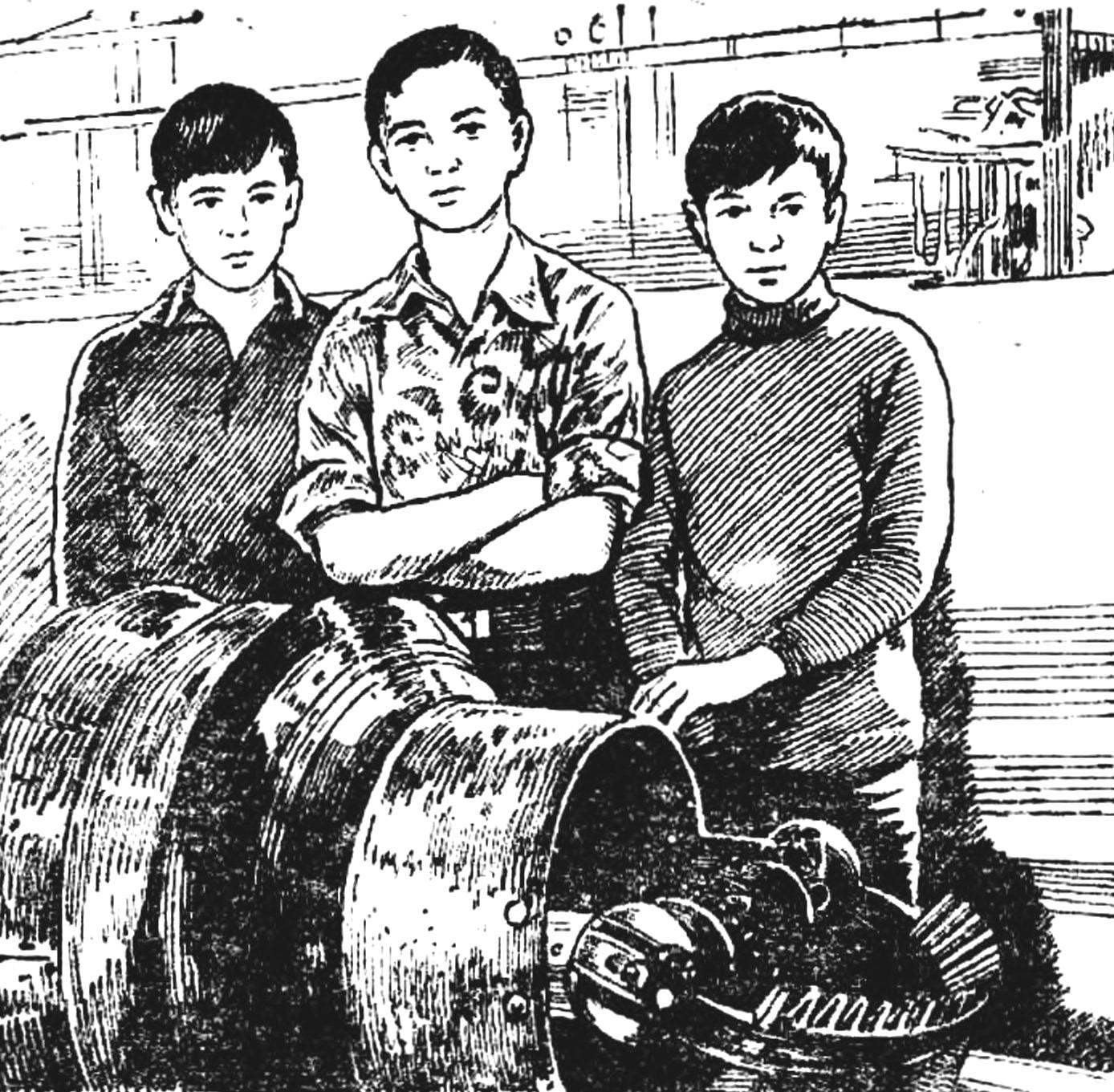 В кружке «Юный механик» школы-интерната при КГУ: машина для прокладки тоннелей и ее конструкторы.