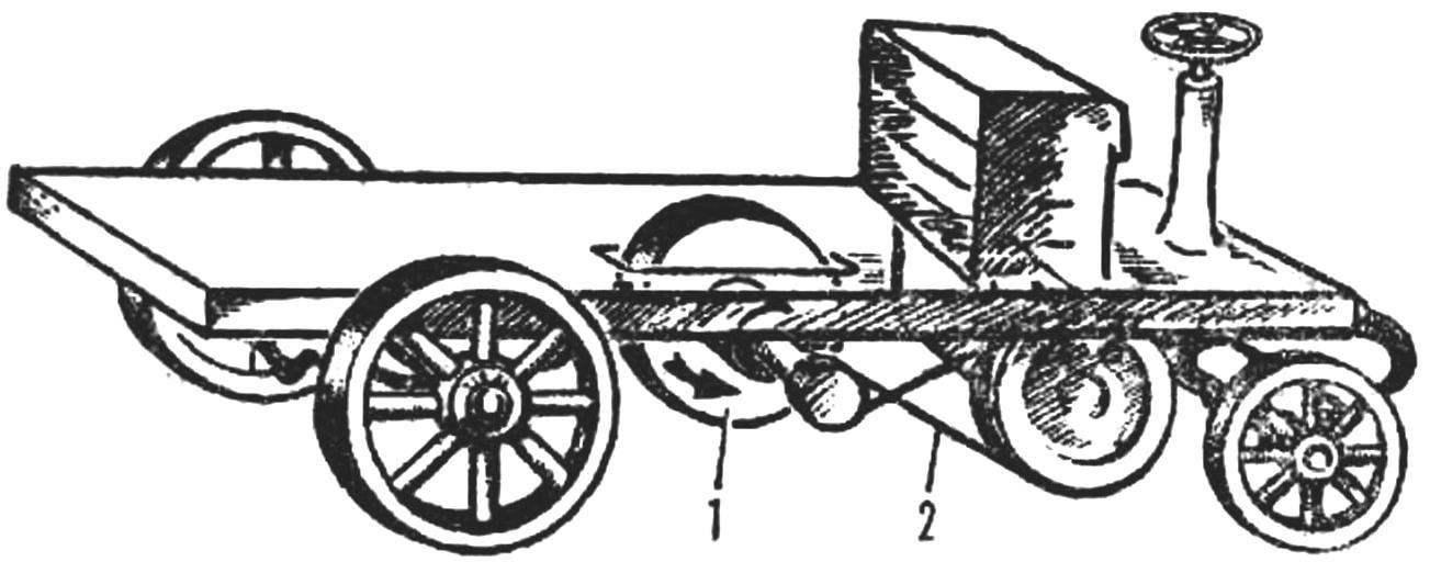 Маховичный «автомобиль» Ланчестера (1905 г.).