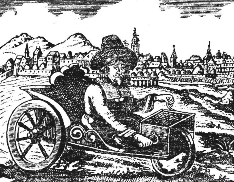 Мускульный экипаж часовщика Фарфлера (1685 г.).