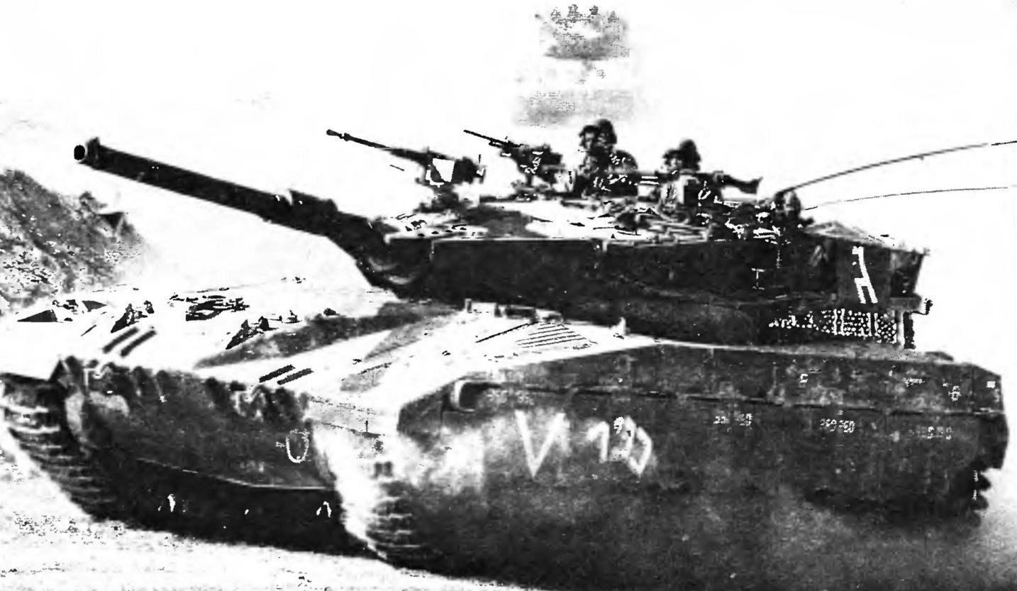 Merkava tank on patrol in the Golan heights. July, 1981