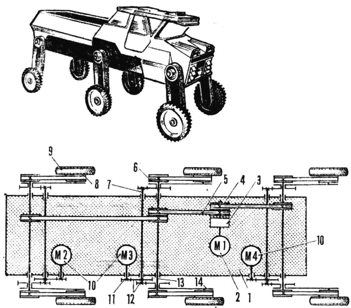 Общий вид модели и ее кинематическая схема