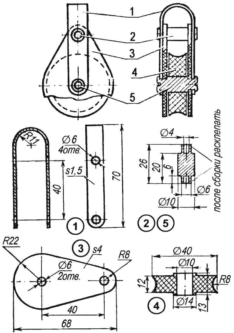 Конструкция одношкивного блока