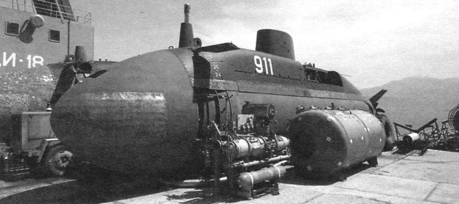Submarine R-911 Tisa on the keel blocks