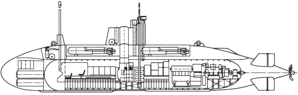 A schematic external view and cross-section of the Yugoslav midget boats M-100