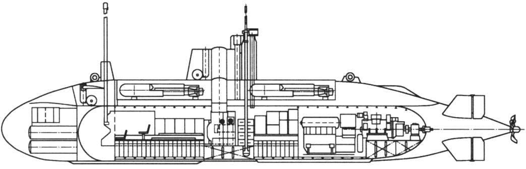Схематическое изображение внешнего вида и разрез югославской сверхмалой лодки М-100
