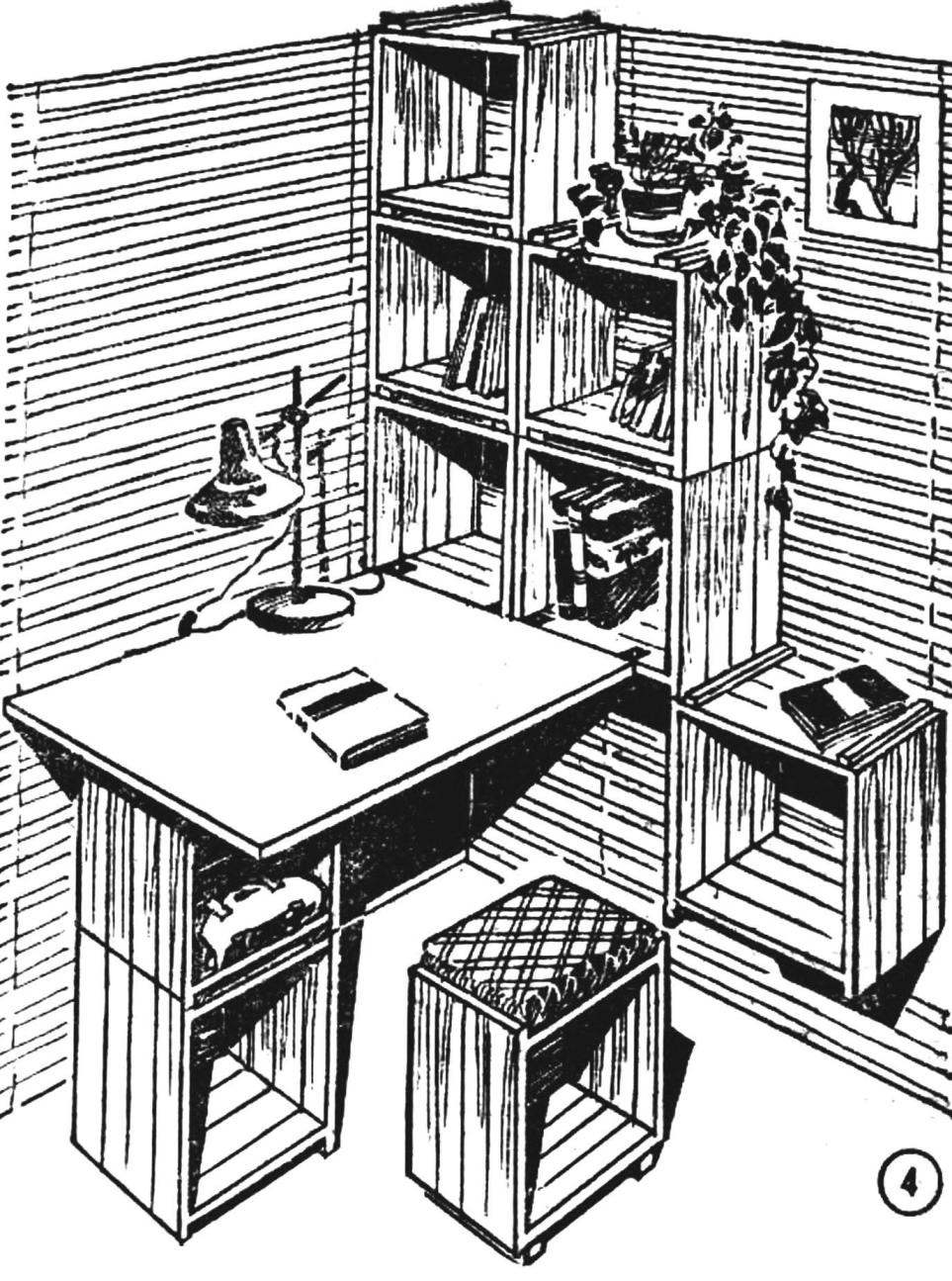 Рис. 4. Рабочий уголок: полки, тумбочка со столом, табурет.