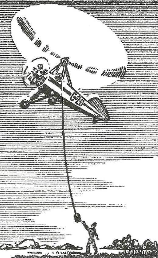 Рис. 2. Автожир на малой скорости принимает груз с земли