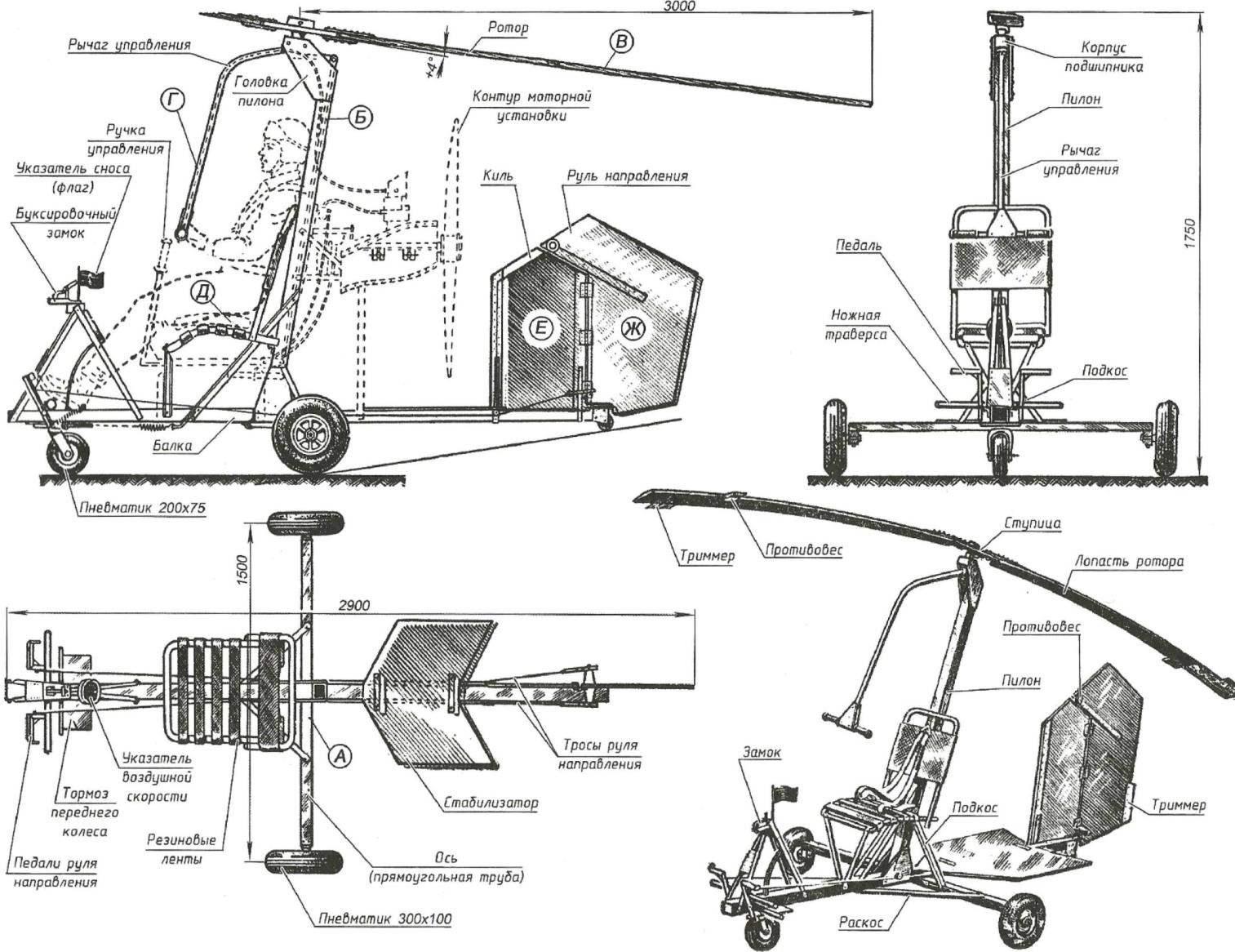 Рис. 3. Схема микроавтожира Игоря Бенсена (по рисунку, выполненному самим конструктором)