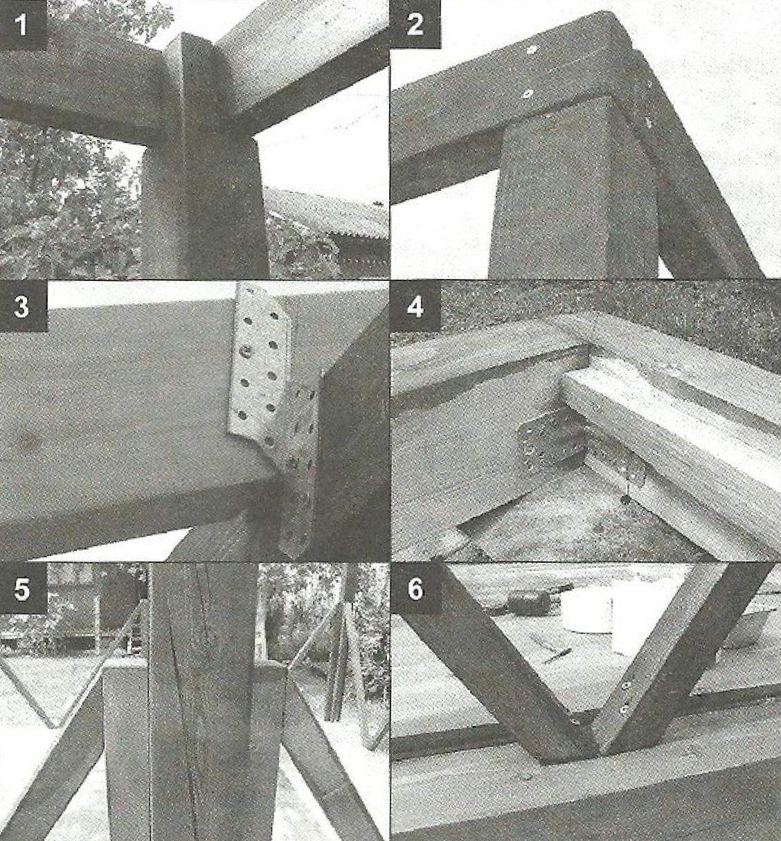 Embedding (1) and compound (2) with screws the boards of the corner uprights and top cord Fastening the rafters to the beams of the upper piping of double corners (3) the Mounting beams of the waist metal corners (4) Mount ocasin with screws to the uprights (5) and bottom rail (6)