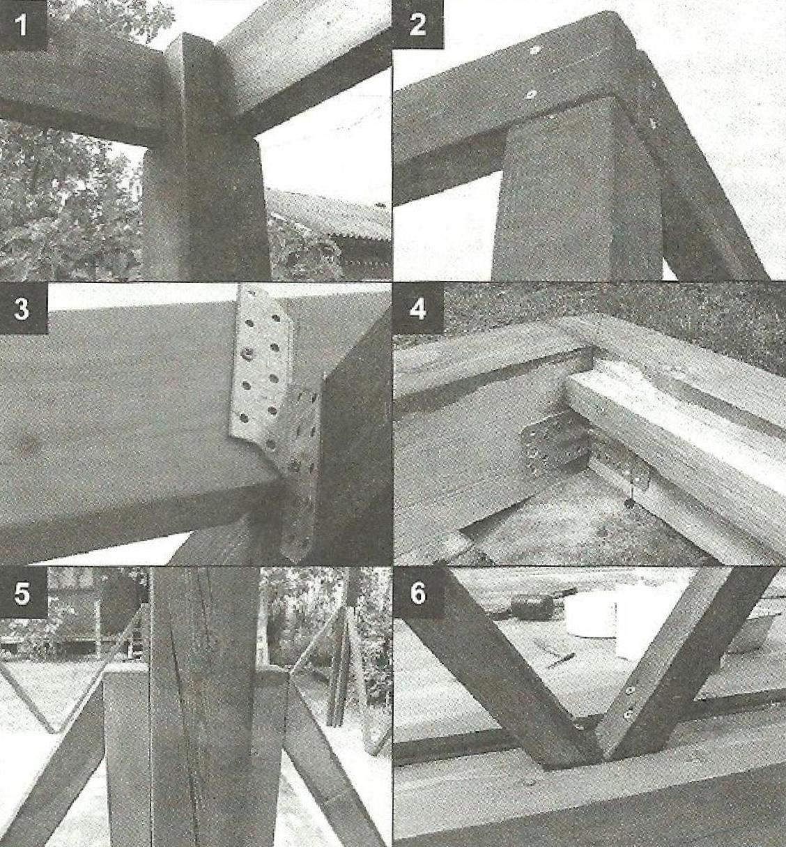 Врежа (1) и соединение (2) саморезами брусьев угловых стоек и верхней обвязки Крепление стропил к брусьям верхней обвязки двойными уголками (3) Крепление брусьев нижней обвязки металлическими уголками (4) Крепление укосин саморезами к стойкам (5) и нижней обвязке (6)