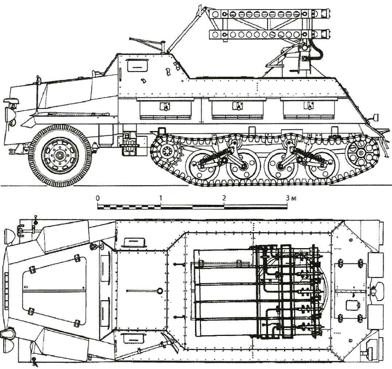 15 cm Panzerwerfer 42 auf Sf с рельсовыми направляющими