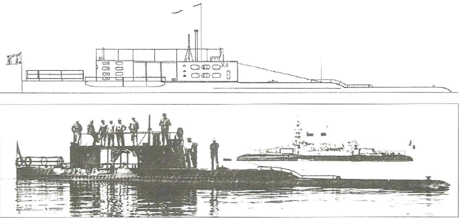 Подводная лодка «X» Г. Ромазотти, Шербург 1906 - 1909 гг.