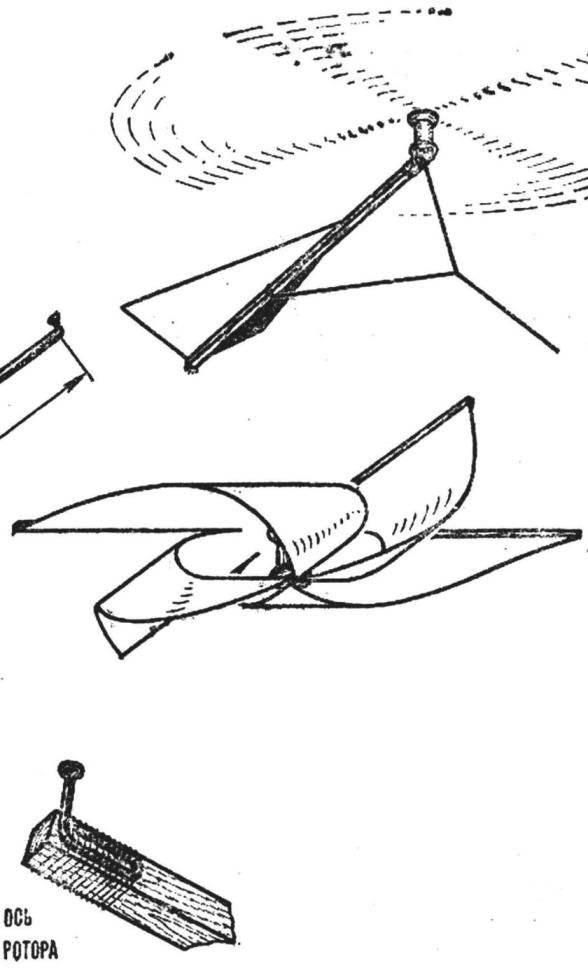Рис. 4. Однороторный змей-вертолет.
