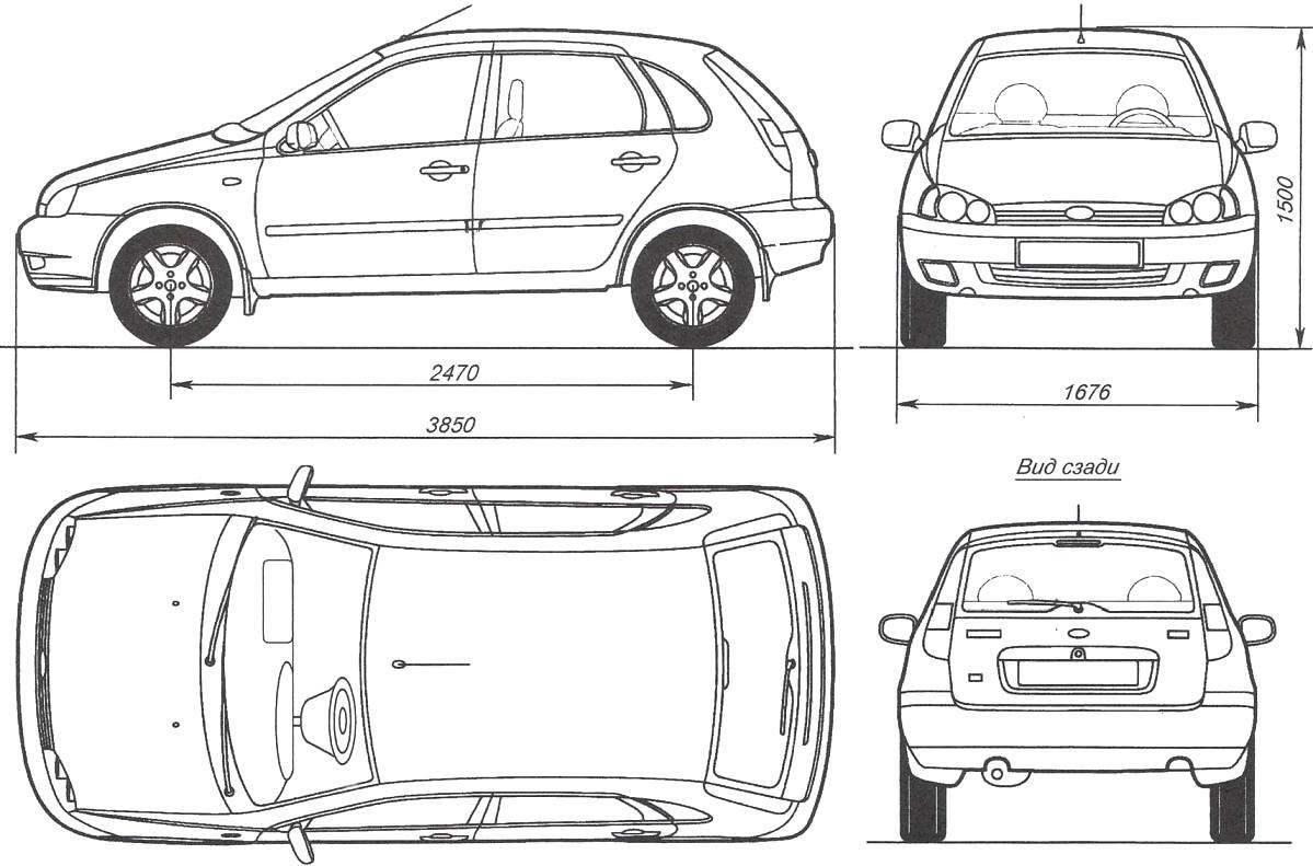 Геометрическая схема автомобиля LADA KALINA хэтчбек