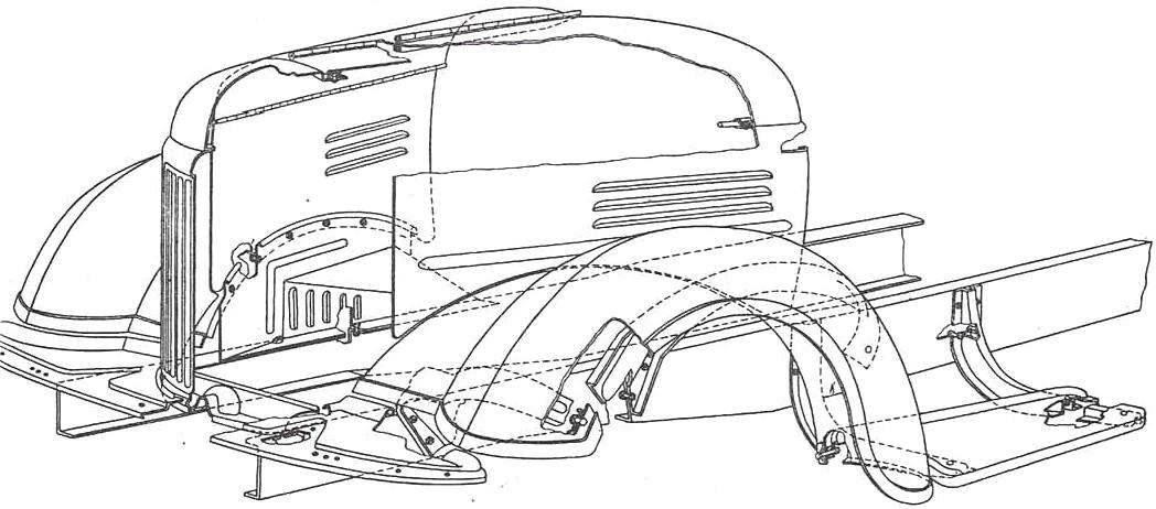 Передняя часть кабины (оперение) автомобиля ЗиЛ-164