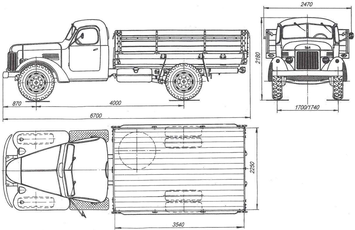 Basic dimensions of the truck ZIL-164