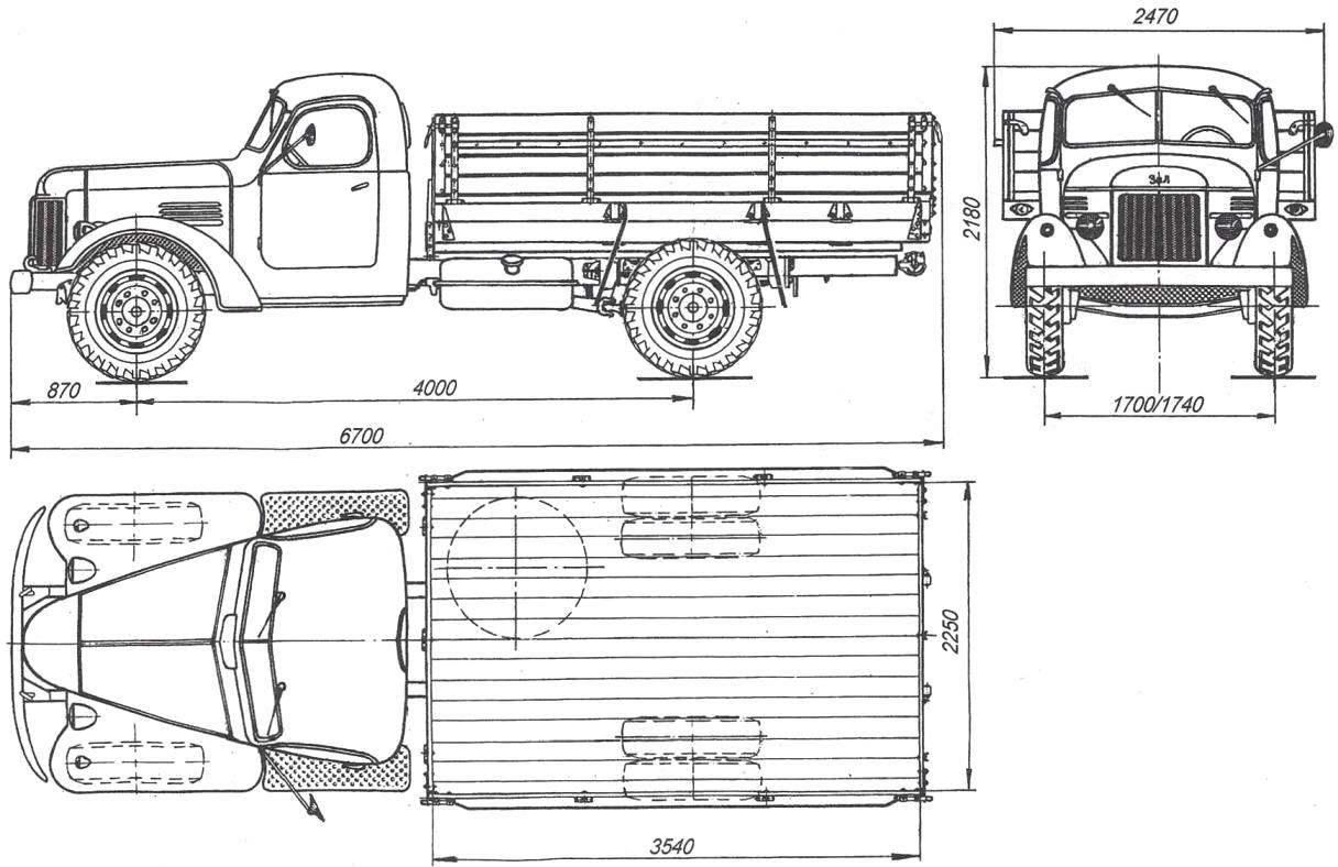 Основные размеры грузового автомобиля ЗиЛ-164