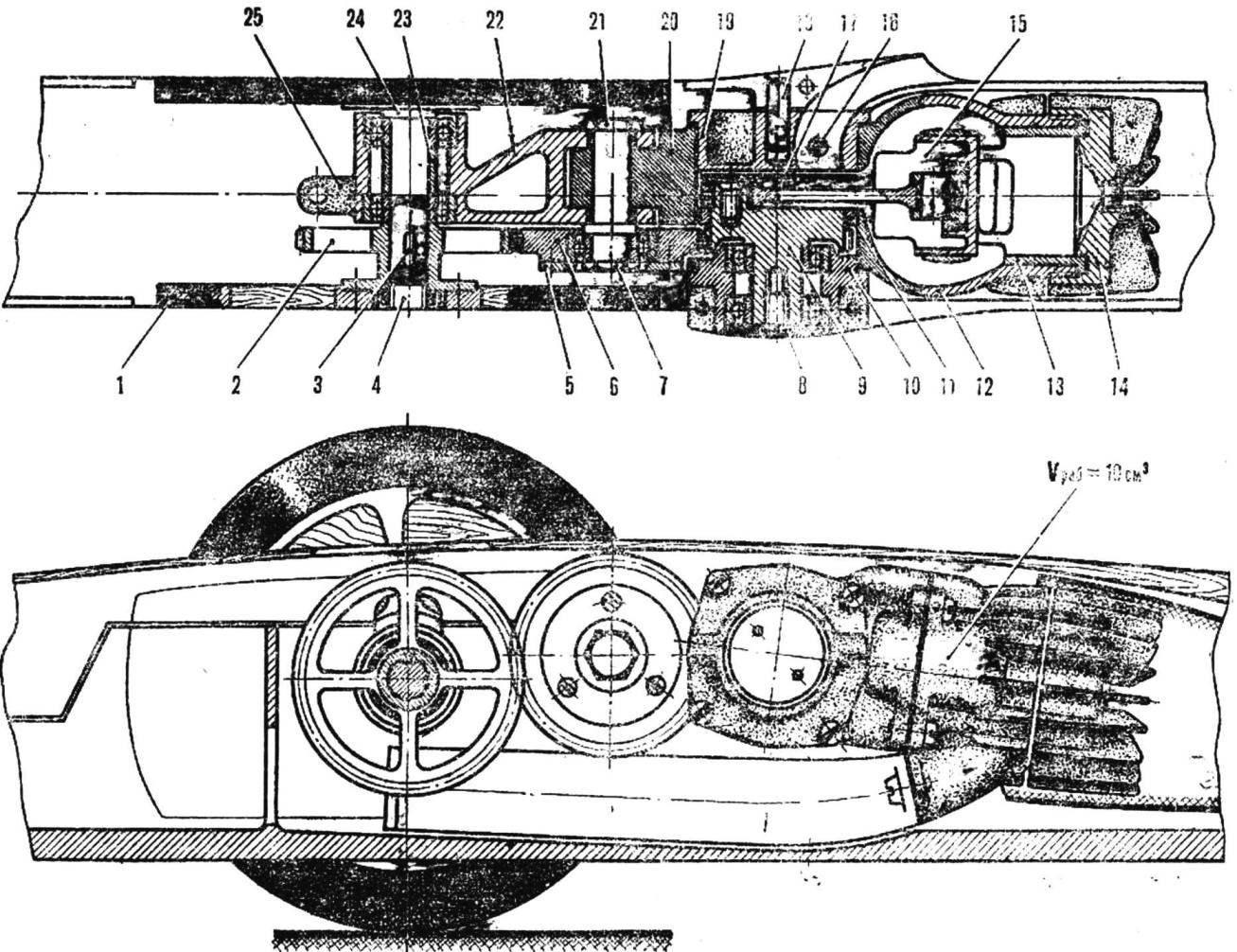 Рис. 5. Мотоустановка с ведущим мостом и колесами