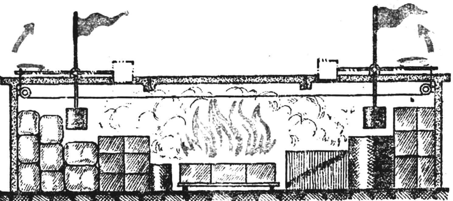 Рис. 1. Схема механического пожарного извещателя из капроновой лески.