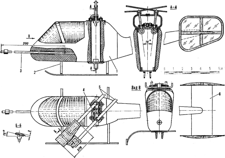 Рис. 1. Двухроторный резиномоторный вертолет