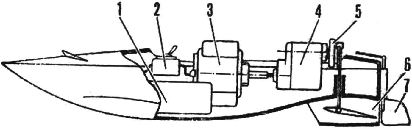 Рис. 4. Компоновка модели катера с гидропульсиром