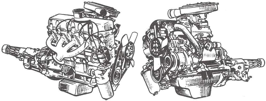 Двигатель модели «412»—его правая и левая стороны