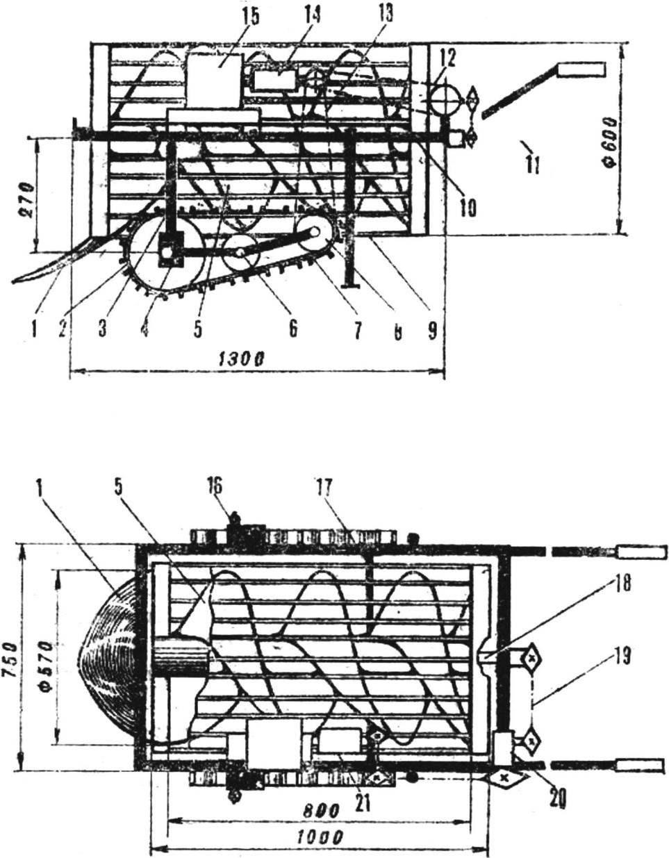 Схема самоходной картофелекопалки
