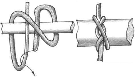 Последовательность завязывания двойного морского узла