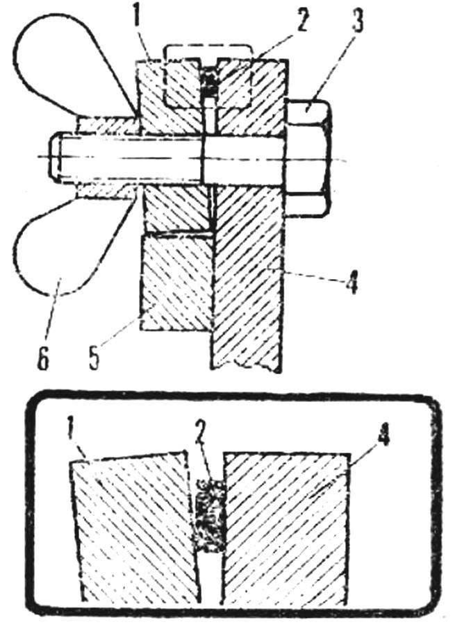 Рис. 1. Существующая схема зажимного узла лобзика