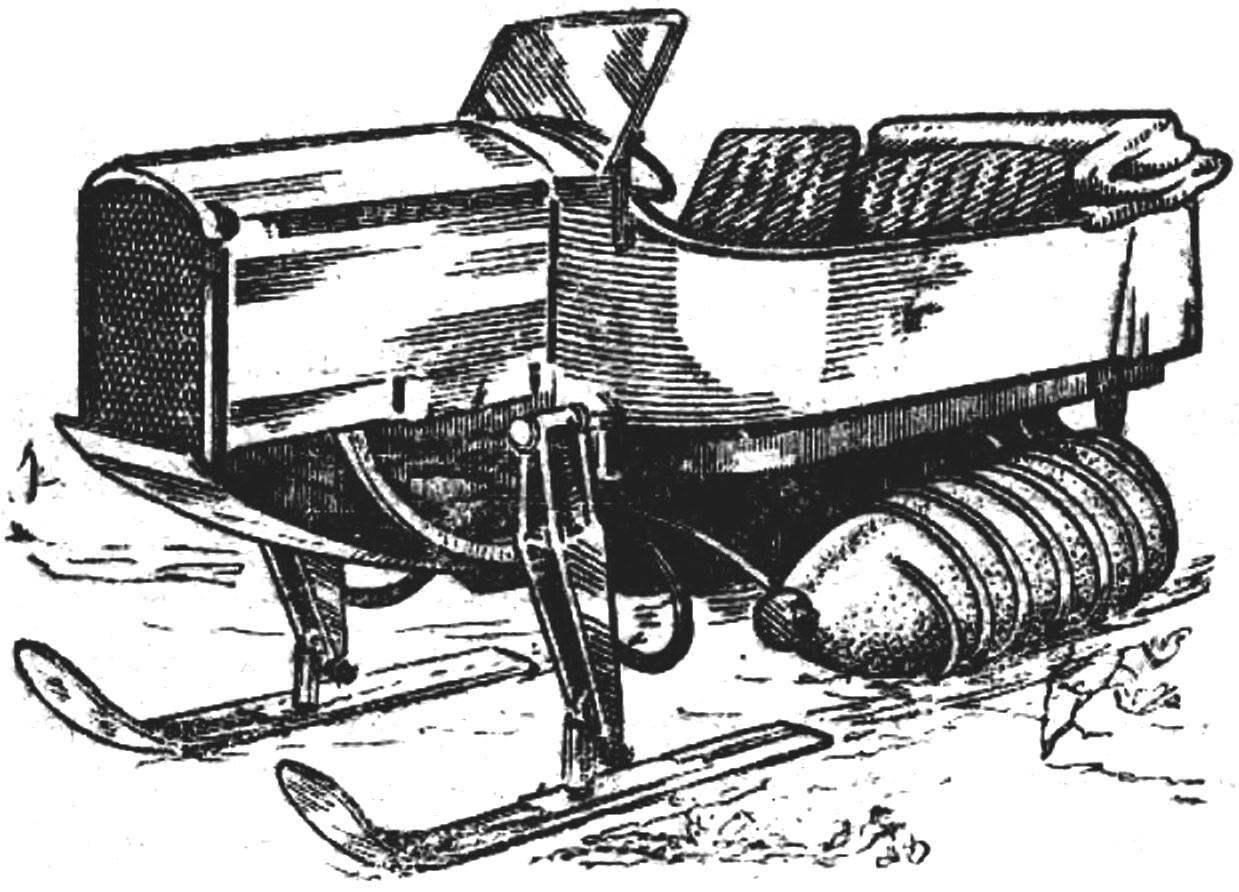 «Мотобоб» — лыжко-винтовая машина.