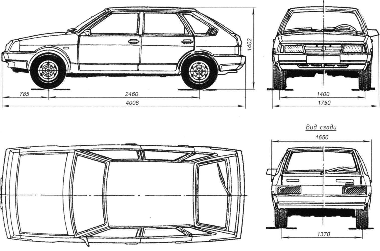 Габаритные размеры автомобиля ВАЗ-2109 (5-дверный хэтчбек)