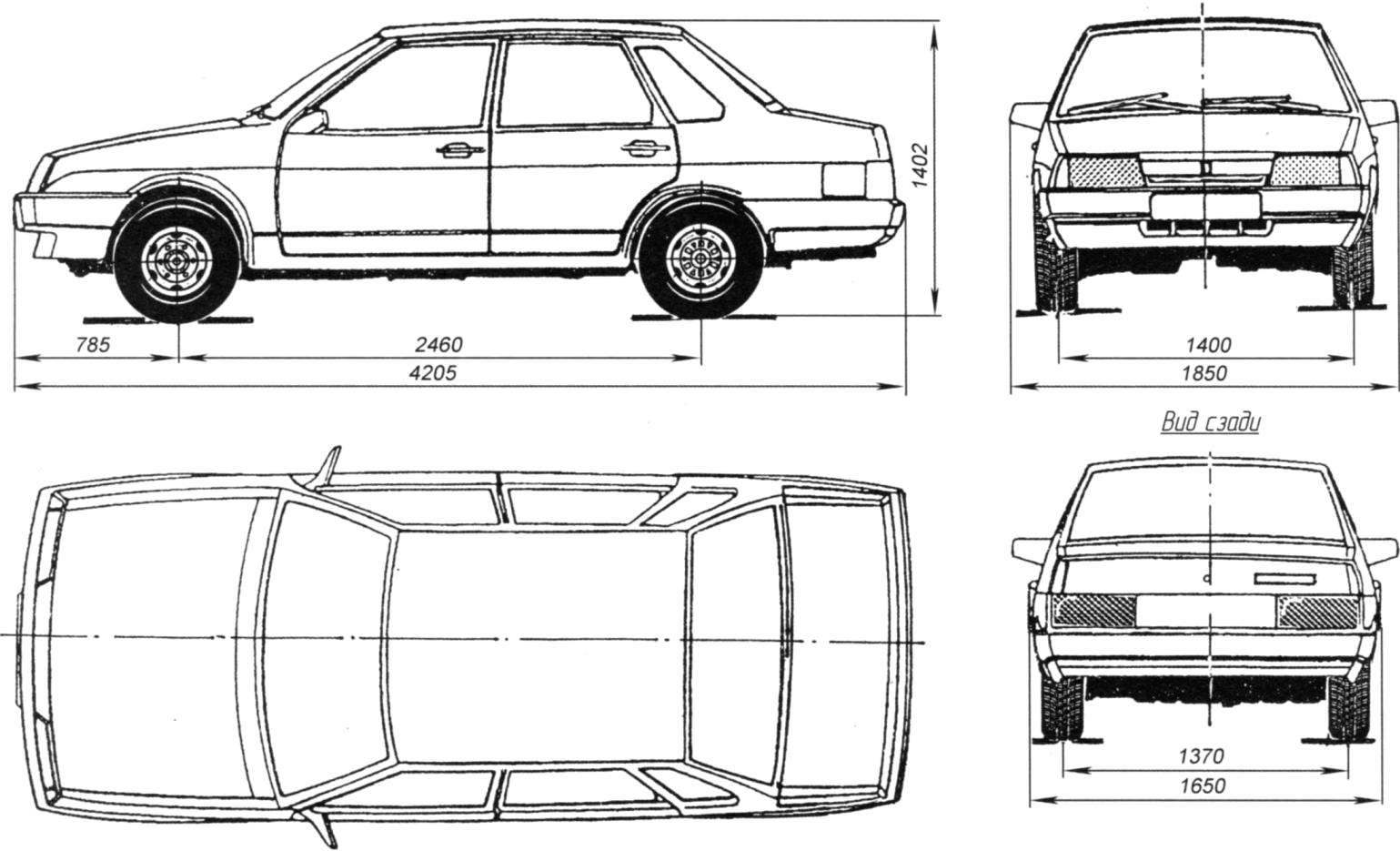 Габаритные размеры ВАЗ-21099 (4-дверный седан)
